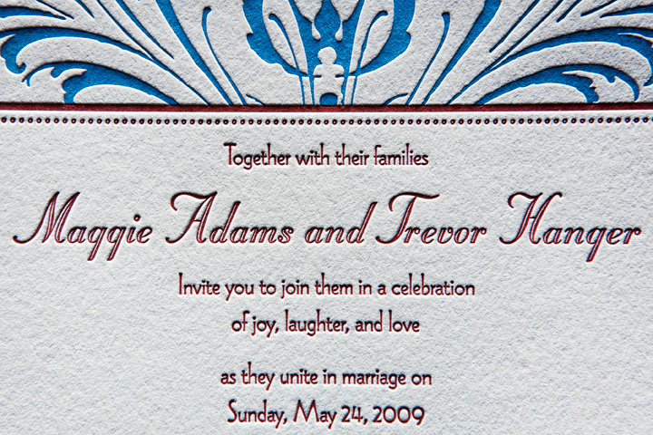 Letterpress Wedding Invitation (detail)