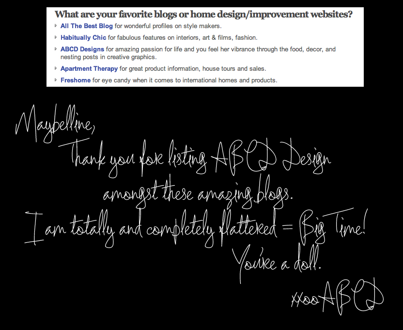 ABCD Design mentioned as a Favorite Blog