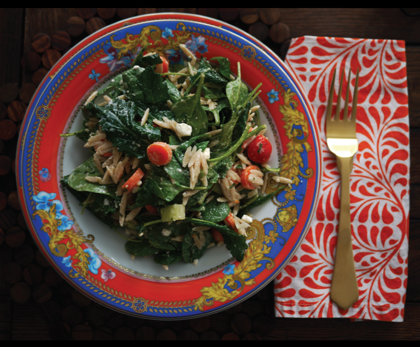 Baby-Kale-and-Baby-Spinach-Salad-with-Orzo-and-Caesar-Dressing