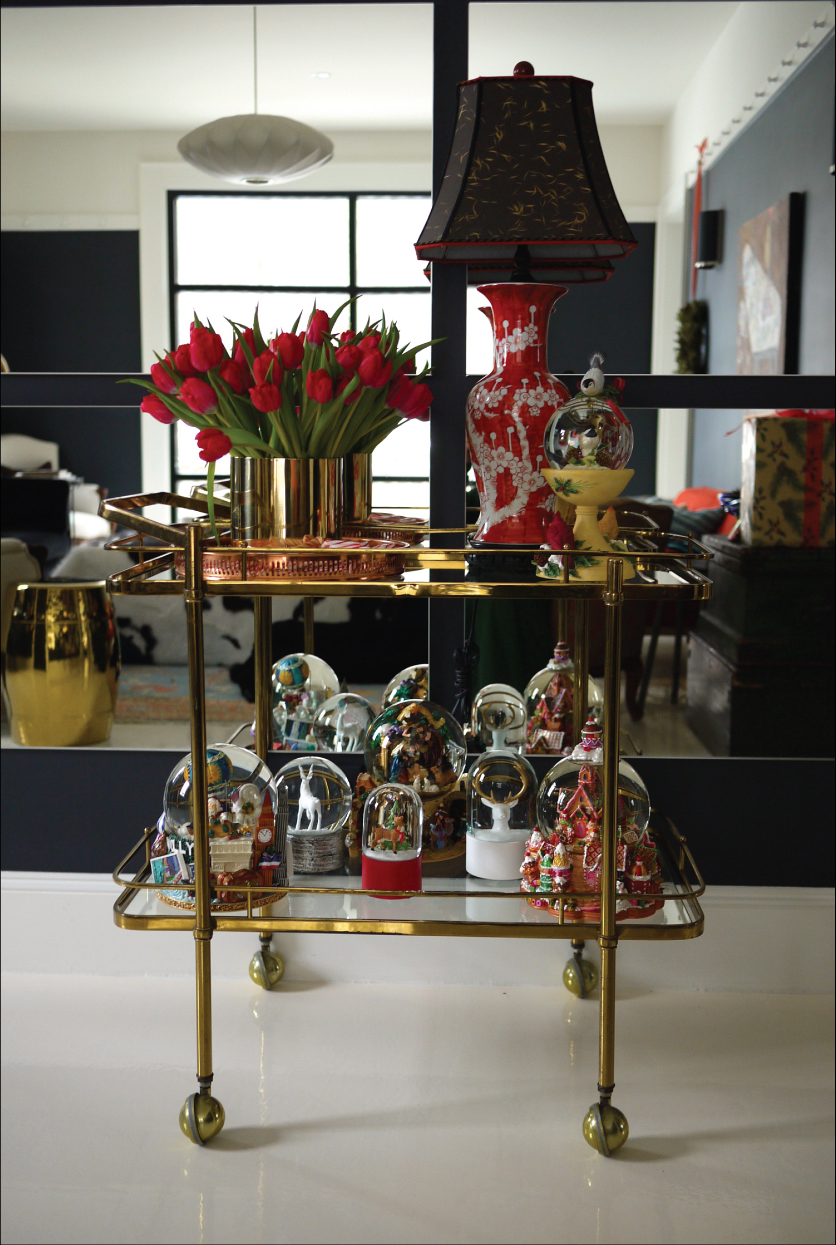 Brass-Barcart-Red-Tulips-Black-Mirror-Wall-Snow-Globe-Collection