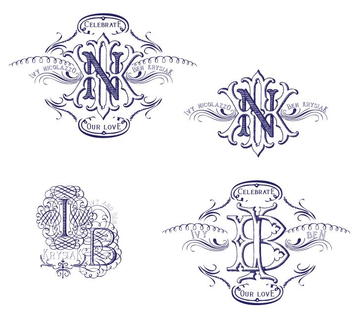 {Monogram/Logo options for custom rubber stamp}