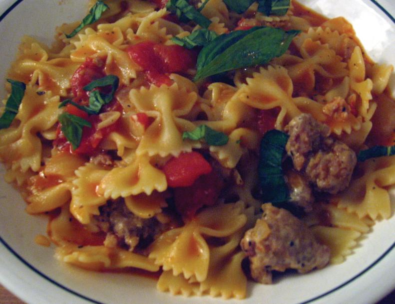 bowtie-pasta-with-sausage