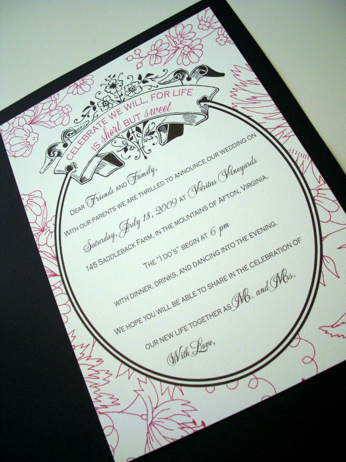 Peony and Black Wedding Invitation