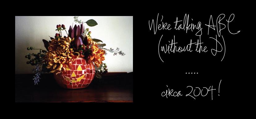 mosaic pumpkin wearing flower hat by ABC