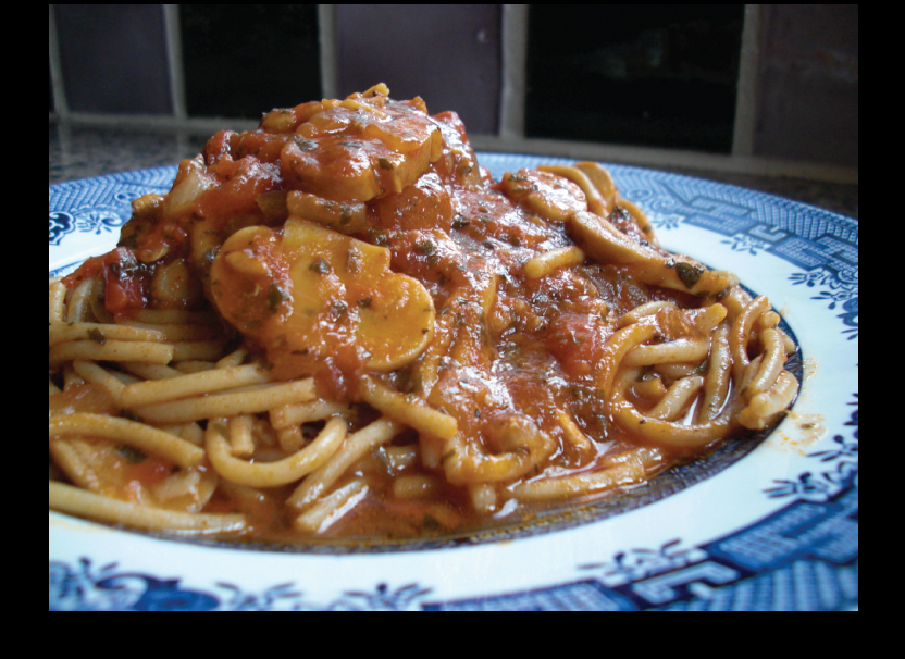 Chicken Cacciatore piled high on vintage china