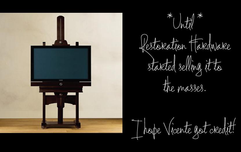 Restoration Hardware Art Easel as T.V. Stand