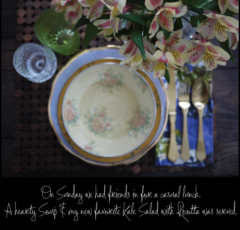 MacKenzie-Childs-Soup-Bowl-Pasta-Bowl-Depression-Glass-Waterford-roly-poly-Annie-Selke-Co-linen-napkins-Gold-flatware