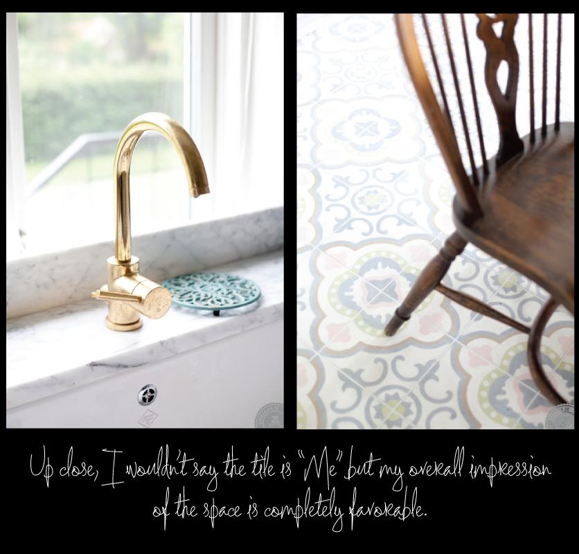 patterned-floor-tile,-brass-sink-fittings,-wood-tone