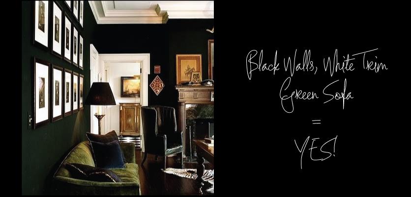 Black-Walls-White-Trim-Green-Sofa