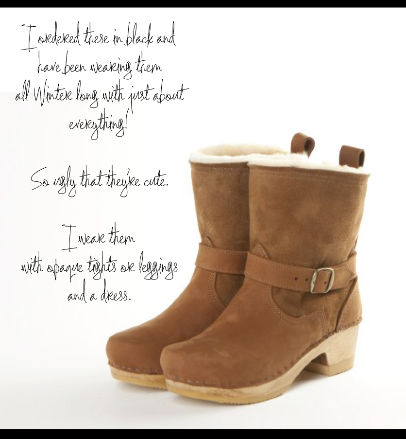 shearling lined Swedish clog boots made in the usa