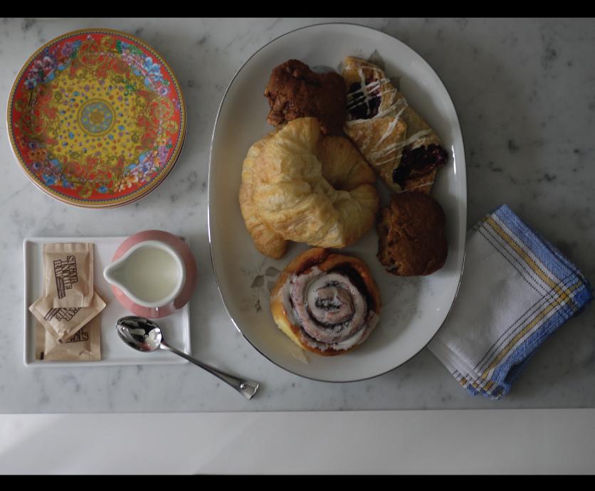 Breakfast Pastries, Versace China, Linen Napkins