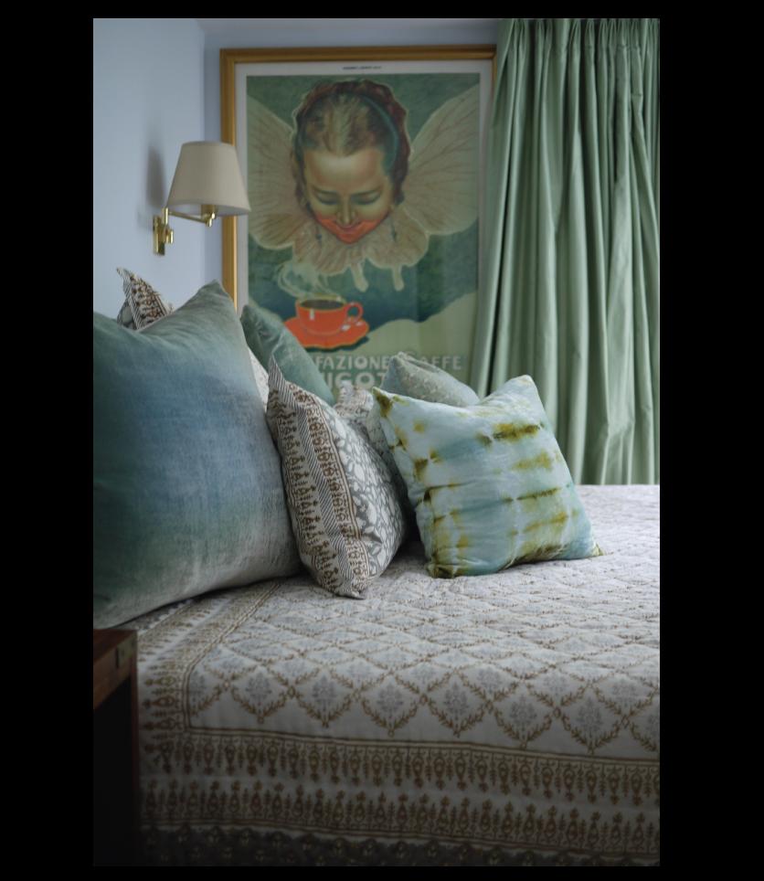 Green-Silk-Curtains-Brass-Lighting-Vintage-Poster-Luxury-Bedding