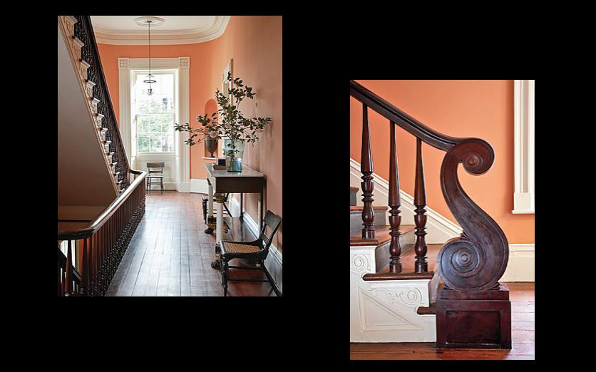 Peach-Walls-White-Trim-Wood-Floors