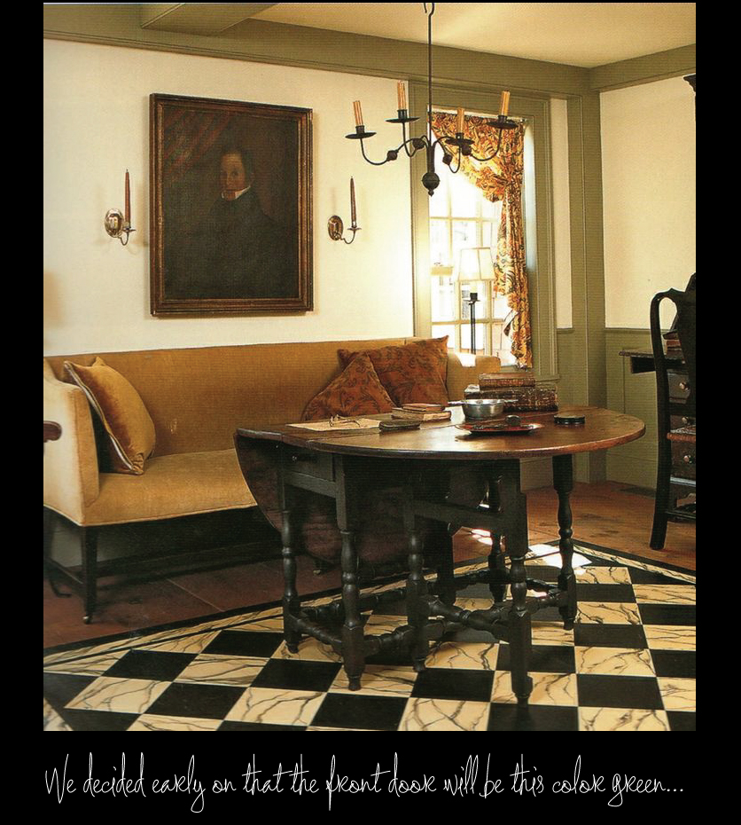 Army-Green-Woodwork,-Black-and-White-Checkerboard-Floor