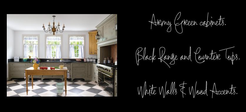 Green-Kitchen-Cabinets-Black-Counters-Black-Range-Checkerboard-Floor
