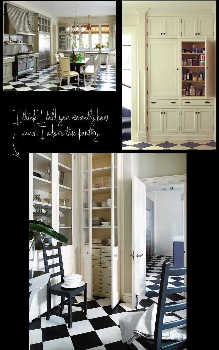 Kitchen-and-Pantry-with-Black-and-White-Floor